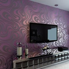 Non-woven wallpaper modern minimalist living room TV backdrop sprinkle gold wallpaper stereoscopic stripes Purple Wallpaper Bedroom, Purple Accent Walls, Accent Wall Bedroom, 3d Wallpaper For Bedroom, Room Wallpaper, Minimalist Living Room, Wallpaper Living Room, Contemporary Wallpaper, Wall Design