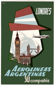 Argentina, travel poster, Aerolíneas Argentinas, Londres, London