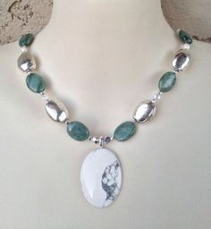 "Necklace Genuine Green Jade Silver White Pearl Stone Necklace 17""  #necklace #Statement #jade #pendant"