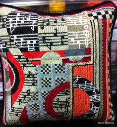 Mindy Needlepoint Pillow, via Flickr.  I want this- matches nothing but my love of music