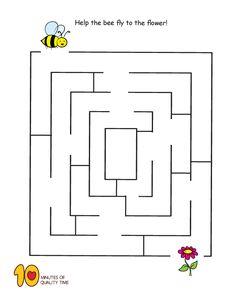 Spring Maze – Bee to Flower Bee Activities, Spring Activities, Fun Activities For Kids, English Worksheets For Kindergarten, Kindergarten Worksheets, Mazes For Kids Printable, Bee Games, Maze Worksheet, Toddler Teacher
