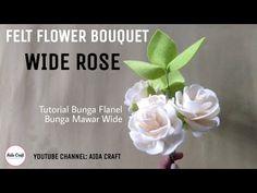 FELT FLOWER BOUQUET WIDE ROSE | cara membuat bunga mawar flanel wide rose dgn mudah! - YouTube Felt Flower Bouquet, Felt Flowers, Diy Flowers, Fabric Flowers, Felt Crafts Diy, Felted Wool Crafts, Felt Diy, Ribbon Flower Tutorial, Rose Tutorial