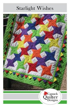 Just two simple blocks nestle together to create a sparkling star quilt. The prairie points overlaid in the border add a fun dimensional element and a little extra twinkle. They are really very easy to make! Try making the borders from the same fabric as...