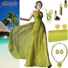 V cut evening dress green