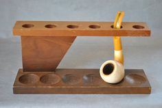 Vintage Wooden Pipe Rack & Meerschaum Pipe with by RetroReaction, $38.00