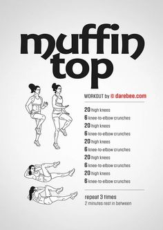 Muffin Top Workout Circuit is amazing and simple! It's our BuzzChomp Fitness Vlog. The Muffin Top workout circuit can be done EVERYWHERE! Reto Fitness, Fitness Home, Fitness Diet, Health Fitness, Fitness Weightloss, Muscle Fitness, Health Diet, Foods For Weightloss, Health Exercise