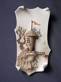 """настенная картина материал: керамика (фаянс) """"замок"""""""