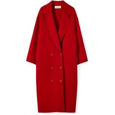 Wool Cashmere Oversized Coat ($1,490) ❤ liked on Polyvore featuring outerwear, coats, red cashmere coat, double breasted woolen coat, long coat, long wool coats and woolen coat