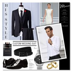 """Custom Wedding Suit"" by anyasdesigns ❤ liked on Polyvore featuring Rosa Clará, Calvin Klein, Bulgari, HUGO, men's fashion, menswear, shoes, wedding, watches and fashionset"
