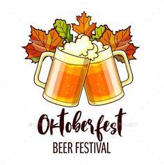Octoberfest Festival Cartoon Design with Glasses