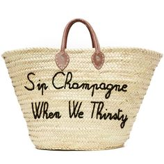 Poolside Bags Sip Champagne When We Thirsty Tote ($185) ❤ liked on Polyvore featuring bags, handbags, tote bags, black, straw purse, straw tote, embroidery handbags, tote handbags and embroidered tote bags