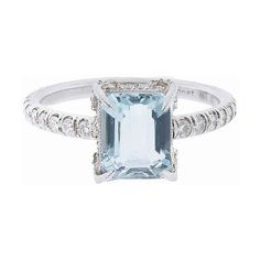 Cathy Waterman Emerald Cut Aqua Ring In Platinum With Diamonds ($5,610) ❤ liked on Polyvore