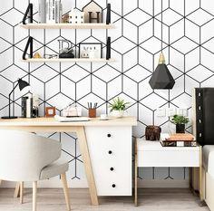 Geometric Wallpaper Hexagon Peel and Stick Self Adhesive Minimalist Custom Wall Paper Traditional Wa