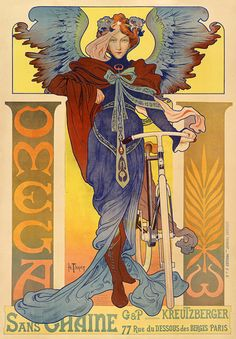 Art Nouveau Poster for Omega Bicycles by Henri Thiriet, 1897
