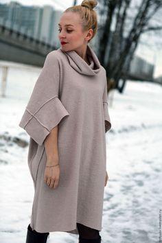 Купить Платье-туника - кремовый, платье, платье шерсть, платье от дизайнера, 5177a7d16c9