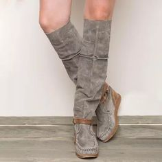 US$ 57.99 - Women Casual Comfy Mid-Calf Boots - www.insboys.com Flat Heel Boots, Wedge Boots, Bootie Boots, Long Boots, Mid Calf Boots, Knee High Boots, Fashion Slippers, Comfortable Boots, Low Heels