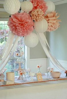 Paper Lanterns and Pom Poms | Birthday Party | Nursery Decor | Bridal Shower | Custom Colors - Thumbnail 1