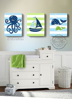 Boy room paint - nautical boy nursery decor sailboat octopus whale canvas art beach ocean decor set of 3 canvas wall art blue green decor Nautical Nursery, Nursery Decor, Nautical Canvas, Sailboat Nursery, Nursery Canvas Art, Owl Nursery, Nautical Theme, Wall Decor, Baby Boy Rooms