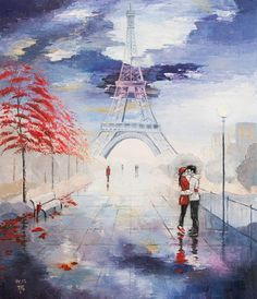 Oil painting. Oil Painting on canvas. Paris. Couple in love. Love. Big painting. Original painting. Urban landscape