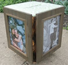 Wedding Card Box wedding.  Looks like a covered box with the frames attached around the outside. Could make at home.