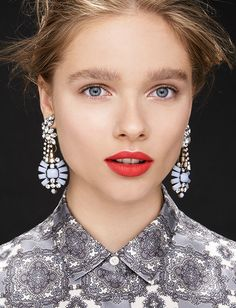 love the lulu frost for jcrew earrings!!, lipstick color,and makeup!- perrrrfection!