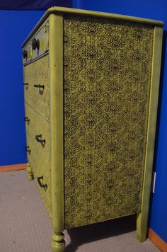 MacGIRLver: I Guess Sometimes It Is Easy Being Green, dresser makeover with wallpaper.