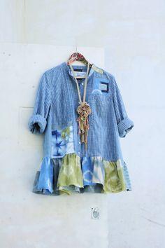 XL Upcycled tunic Boho Clothing Recycled altered by SaidoniaEco