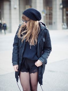 Lisa makes winter look so cute in UO lace shorts. #urbanoutfitters