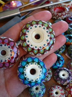Kristina Logan beads out of the kiln. Strikingly gorgeous. She's one of my heroes and just super nice.