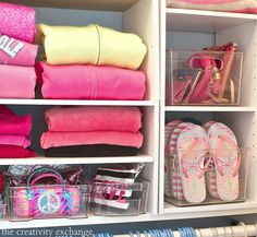 Use those plastic bins that are always on clearance (for refrigerator organizing) to organize closets, laundry room and bathroom.  Kid closet revamp project from The Creativity Exchange