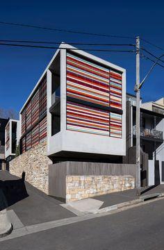 Multi-coloured sunscreens lend stripy appearance to Sydney residence