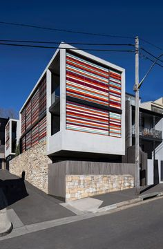 Multi-coloured sunscreens lend stripy appearance to Sydney residence
