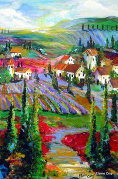 Large Original Landscape Painting 24 x 36 Art by Elaine Cory. ElainesHeartsong