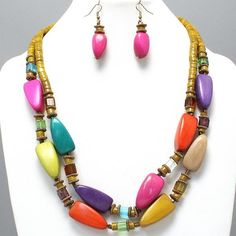 """CHUNKY MULTI COLOR WOOD THEME GOLD TONE NECKLACE SET     * If you need a necklace extender I have them for sale in my store.*          LOBSTER CLAW CLASP        NECKLACE: 24"""" + 3"""" EXT    HOOK EARRINGS: 2"""" LONG    CHARM SIZE: 1"""" LONG      COLOR: GOLD TONE $20.99"""