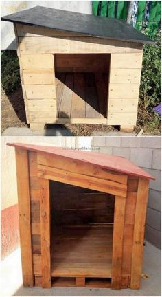 Catch this amazing pet house design piece for your house furnishings. You will prominently be finding this pet house setting so unique and crea… Wood Pallet Recycling, Recycled Pallets, Wood Pallets, Pallet Dog House, Dog House Plans, Diy Pallet Projects, Wood Projects, Dog Window In Fence, Cool Dog Houses
