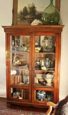 49 unique China Cabinet Makeover ideas - Home Page Antique China Cabinets, Antique Curio Cabinet, Curio Cabinet Decor, Library Cabinet, Vintage Cabinet, Cabinet Storage, Cabinet Ideas, Bathroom Storage, Reading Room