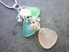 Sea Glass Necklace  Aqua Pink  Beach Seaglass by TheMysticMermaid