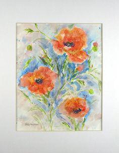 Poppy Watercolor Abstract Watercolor Original Watercolor