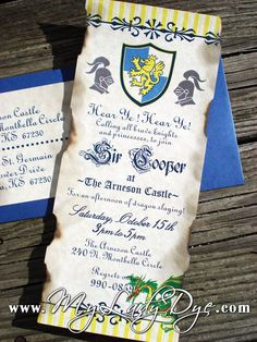 Medieval Dragon and Knight Themed Birthday Invitation Party Invitation Birthday Card - Dragon, Knight, Regal, Old, Rustic, King, Shield. $6.49, via Etsy.