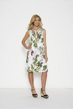 Threadz Parrot Dress #summer #dress #sale #plussize #fashion Dress Summer, Spring Summer, Out To Lunch, Tan Heels, Dress Sale, V Cuts, Summer Looks, Cotton Dresses, Stretch Fabric