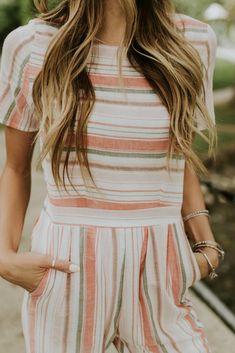 Peach Stripe Jumpsuit | ROOLEE