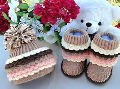 Crochet Baby Set  Baby Booties Knitting Baby Hat  by Solnishko42, $55.00
