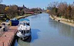 Sunny spring day on Bega River wallpaper Europe Wallpaper, Boat Wallpaper, Spring Day, Romania, Sunnies, Wallpapers, River, Country, City