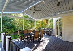 Equinox Adjustable Louvered Roof. More versatile than a pergola. More durable than umbreallas, canopies or awnings. And brighter than a covered porch. Open louvers let in the light: closed louvers seal out the rain. Mention this post with code KC516 when you buy Equinox from http://www.coreoutdoor.com and get a $50 Home Depot Gift certificate as a special bonus! #adjustablelouveredroof #equinoxroof #solarpowered #outdoorentertaining #deckideas #backyard #deck #pergola #coveredporch