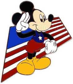 This pin is Mickey's All American Pin Trading Festival. - Mickey is saluting the American Flag with his right hand. Arte Disney, Disney Magic, Disney Mickey, Minnie Mouse, Mickey Mouse Cartoon, Disney Usa, 4th Of July Wallpaper, 4th Of July Images, Mickey Mouse Decorations