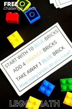 LEGO math challenge cards and LEGO math activity kindergarten and grade school age kids