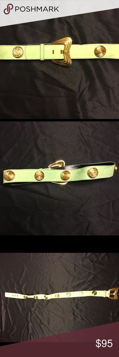 Vintage Escada Elegant Green Suede w/Gold Spirals USED True Vintage 80's Escada light green German suede with high quality gold plated buckle and large spiral stud accents. Some minor blemishes not making a fuss about. Contour fashion Escada Accessories Belts