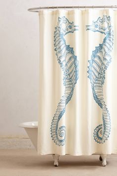 Reflected Seahorse Shower Curtain - anthropologie.com