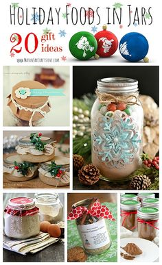 20 Fabulous Foods in Jars for the Holidays - Find personalized Christmas jars here for unique packaging: http://myweddingreceptionideas.com/winter_miniature_glass_candy_jars.asp