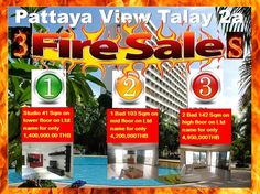 Pattaya Condo Fire Sales: 3 Units in View Talay 2a being 41 sqm Modern Studio on low floor for 1,400,000.00 THB, a 1 bedroom 103 sqm corner unit mid floor for only 4,200,000.00 THB and a 2 bedrooms 142 sqm corner unit on high floor for only 4,950,000.00 THB. All units are in perfect condition and offered on a Ltd name with no extra costs, ready to move in NOW. Call 0800176100 or look at these units in detail: http://condoforsalethailand.net/view-talay-2-a-fire-sale-units/